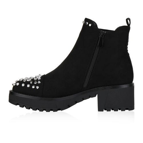 Damen Stiefeletten Plateau Boots - Schwarz Velours