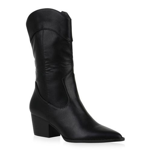 Damen Stiefel Cowboystiefel - Schwarz