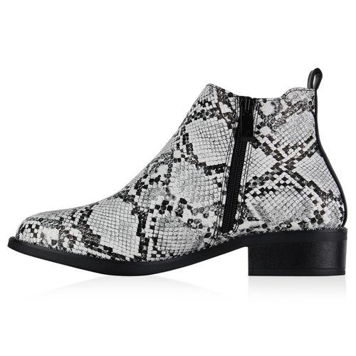 Damen Klassische Stiefeletten - Schwarz Weiß Snake