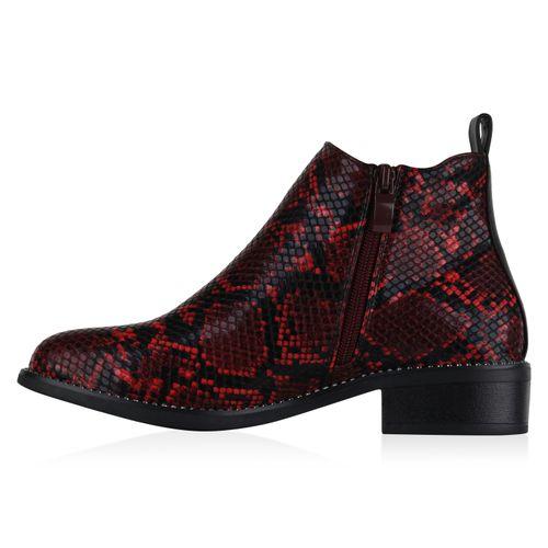 Damen Klassische Stiefeletten - Rot Schwarz Snake