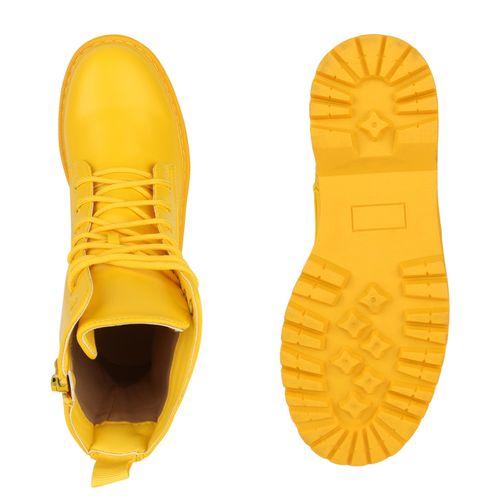 Damen Stiefeletten Plateau Boots - Gelb