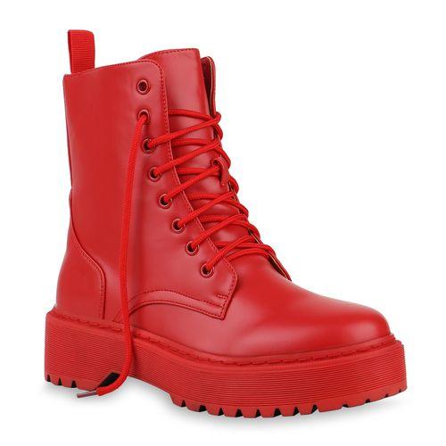 Damen Stiefeletten Plateau Boots - Rot