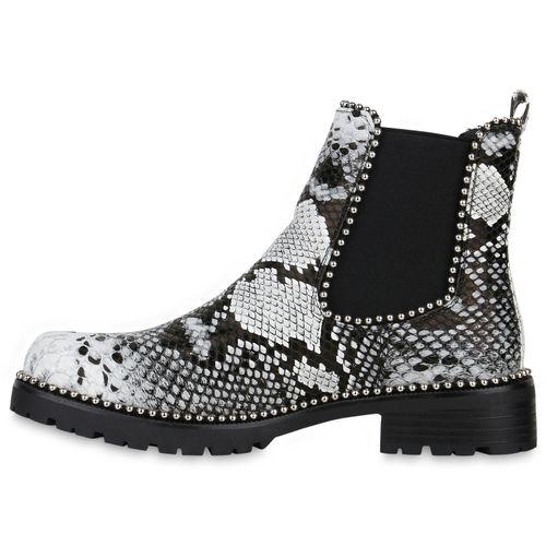 Damen Stiefeletten Chelsea Boots - Schwarz Weiß Snake