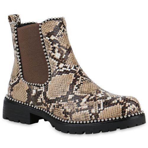 Damen Stiefeletten Chelsea Boots - Khaki Tan Snake