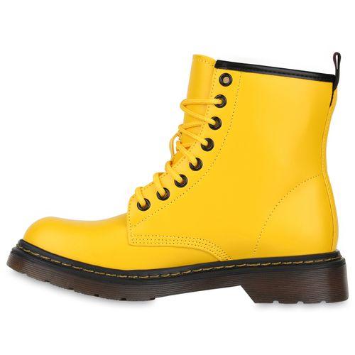 Damen Stiefeletten Worker Boots - Gelb
