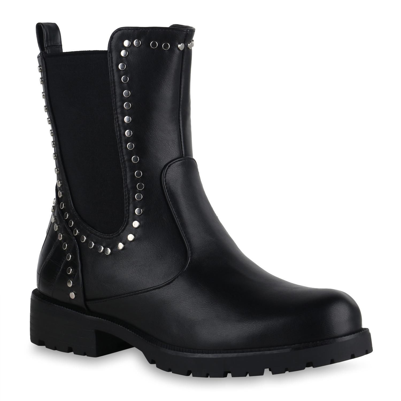 Damen Stiefeletten Chelsea Boots - Schwarz Snake