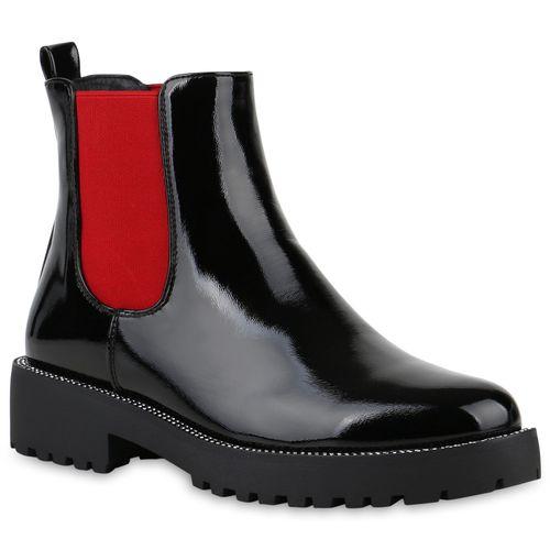 Damen Stiefeletten Chelsea Boots - Schwarz Rot