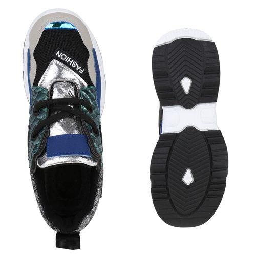 Damen Plateau Sneaker - Schwarz Grün Muster