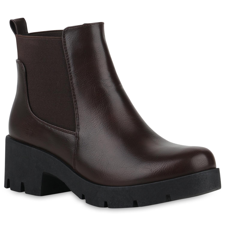 Stiefel für Frauen - Damen Stiefeletten Chelsea Boots Dunkelbraun › stiefelpardies.de  - Onlineshop Stiefelparadies