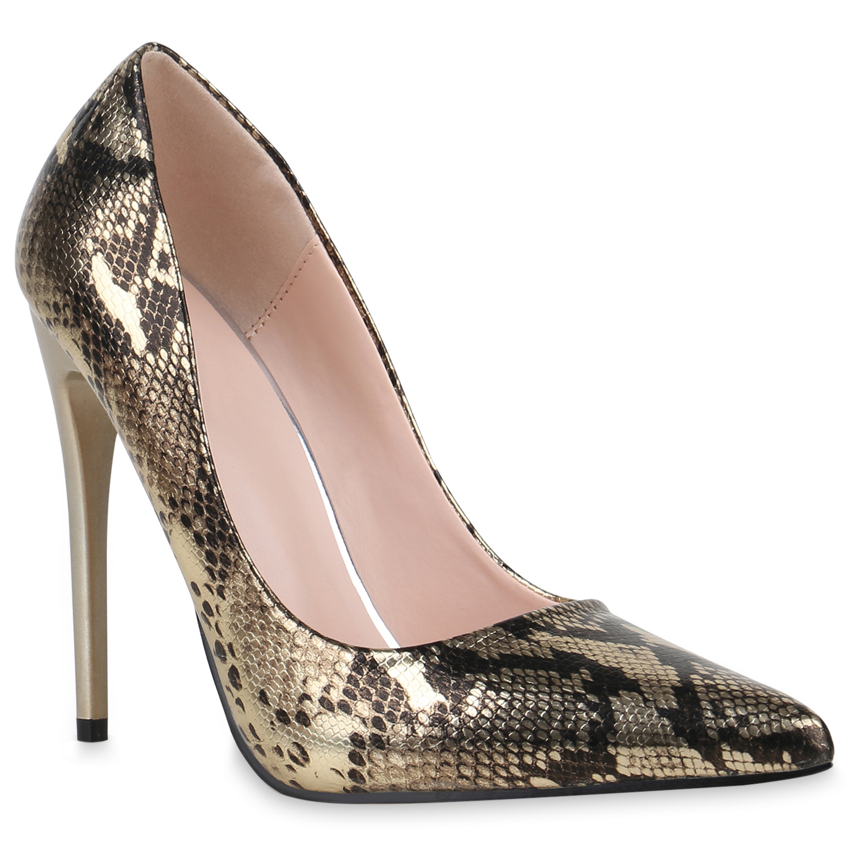 Damen Spitze Pumps - Gold Schwarz Snake