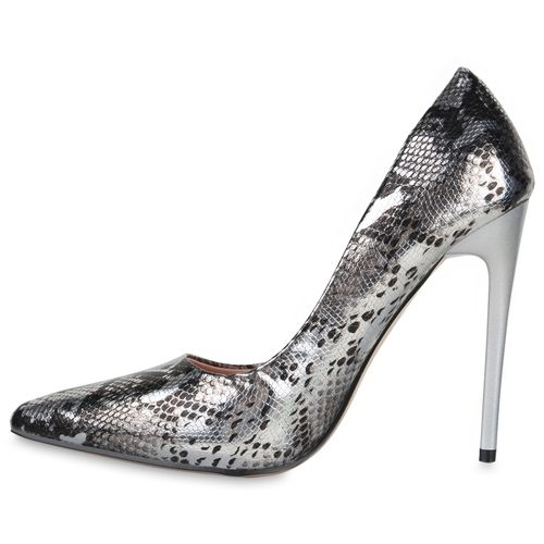 Damen Spitze Pumps - Silber Schwarz Snake