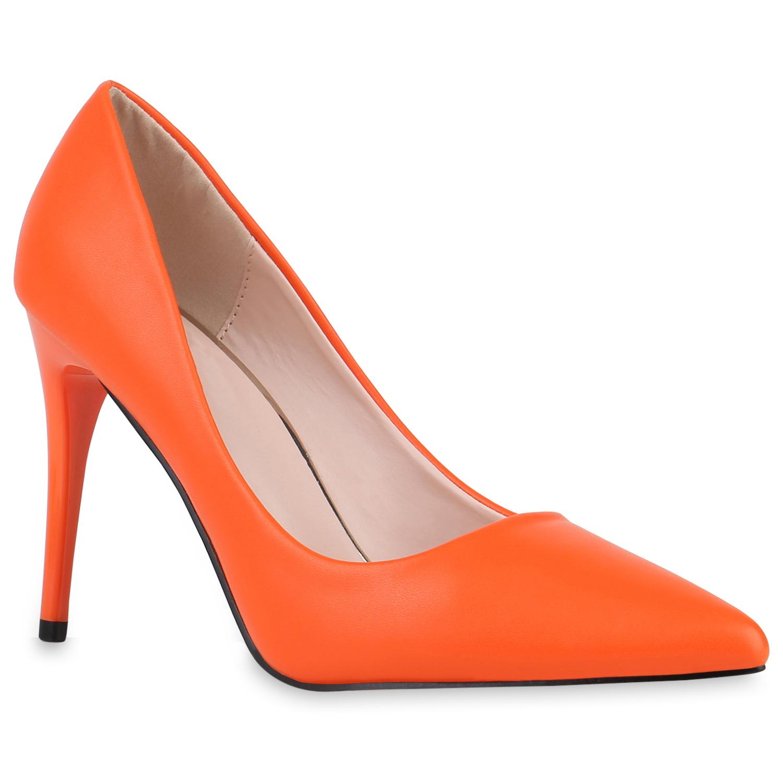 Pumps für Frauen - Damen Spitze Pumps Orange › stiefelpardies.de  - Onlineshop Stiefelparadies