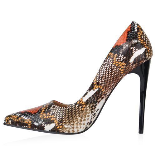 Damen Spitze Pumps - Braun Orange Snake