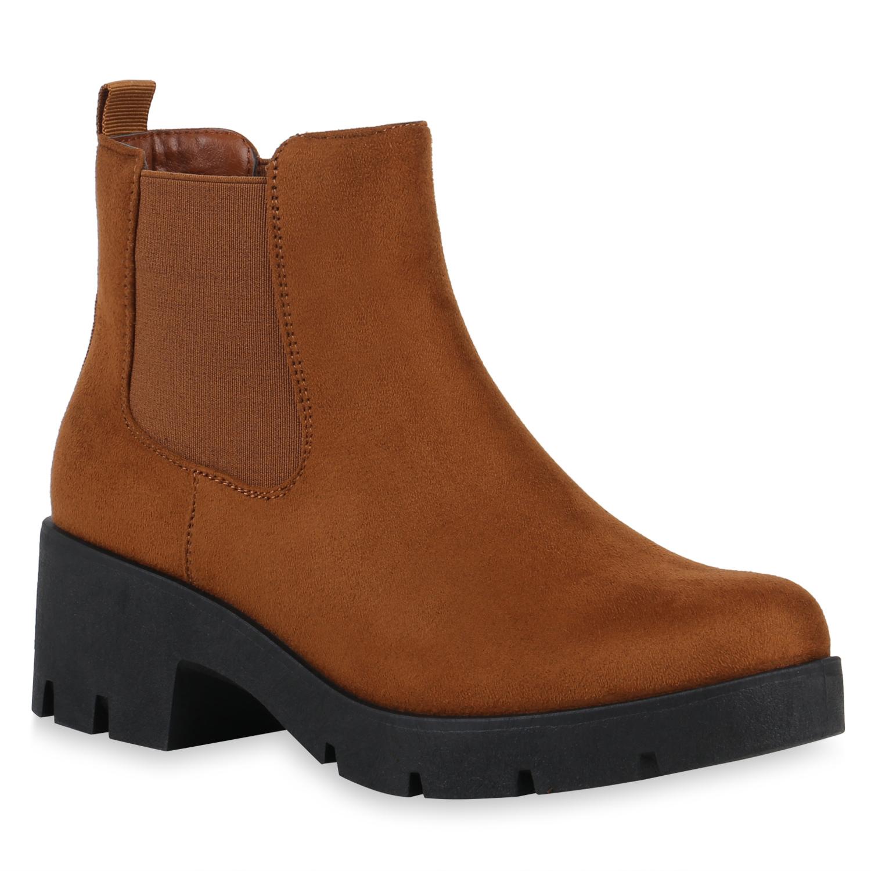 Stiefel für Frauen - Damen Stiefeletten Chelsea Boots Hellbraun › stiefelpardies.de  - Onlineshop Stiefelparadies