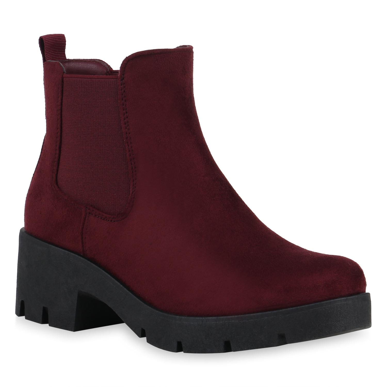 Stiefel für Frauen - Damen Stiefeletten Chelsea Boots Burgund › stiefelpardies.de  - Onlineshop Stiefelparadies