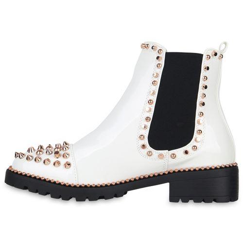 Damen Stiefeletten Chelsea Boots - Weiß Schwarz