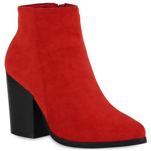 Damen Stiefeletten Ankle Boots - Rot