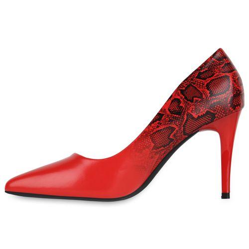 Damen Spitze Pumps - Schwarz Rot Snake