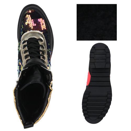 Damen Stiefeletten Schnürstiefeletten - Schwarz Gold Neon Pink