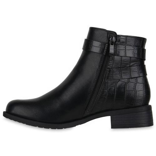 Damen Klassische Stiefeletten - Schwarz Kroko 96421549