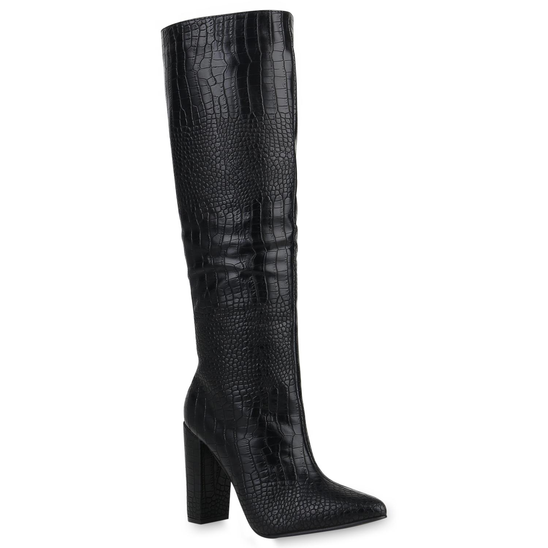 Damen Stiefel High Heels - Schwarz Kroko