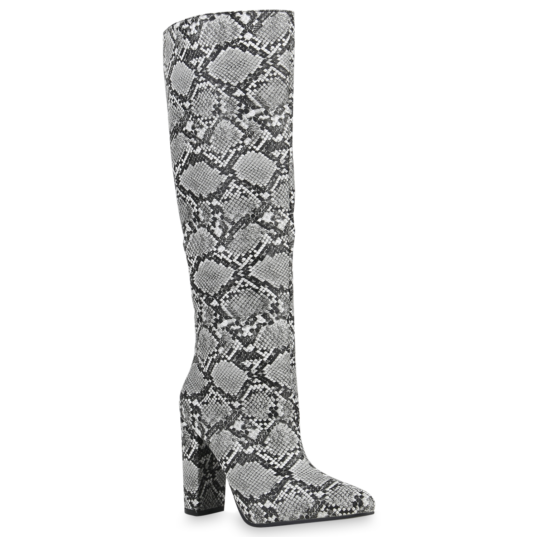 Damen Stiefel High Heels - Schwarz Weiß Snake