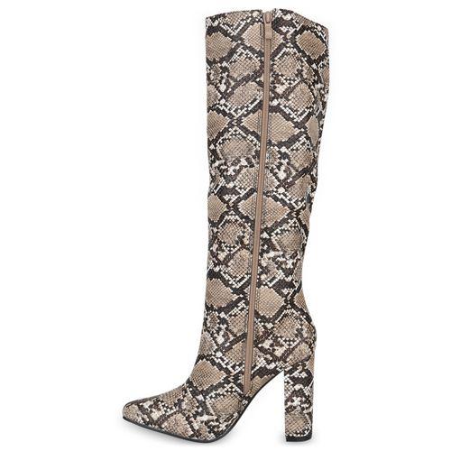 Damen Stiefel High Heels - Khaki Dunkelbraun Snake