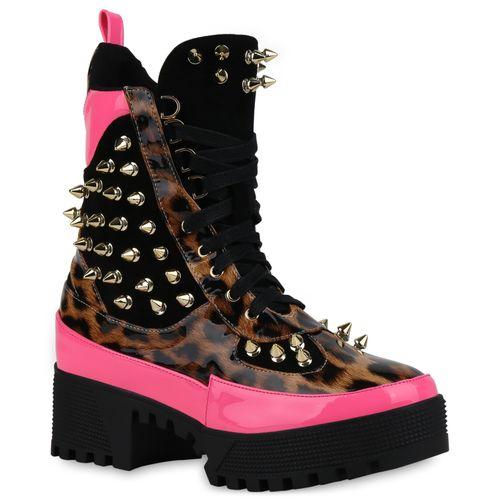 Damen Stiefeletten Plateau Boots - Schwarz Leo Neon Pink