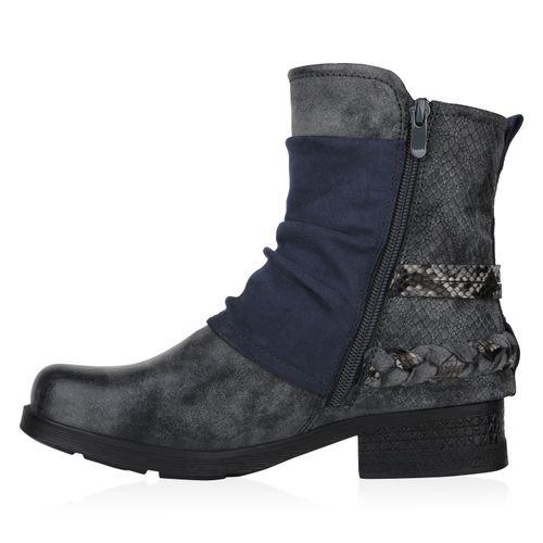 Damen Stiefeletten Biker Boots - Marineblau