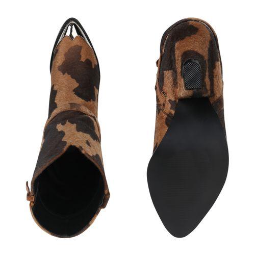 Damen Stiefeletten Cowboy Boots - Hellbraun Leo