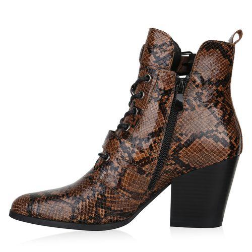 Damen Stiefeletten Schnürstiefeletten - Hellbraun Snake