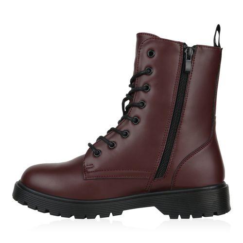 Damen Stiefeletten Worker Boots - Burgund