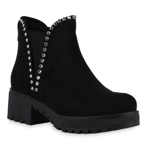 Damen Stiefeletten Chelsea Boots - Schwarz Velours