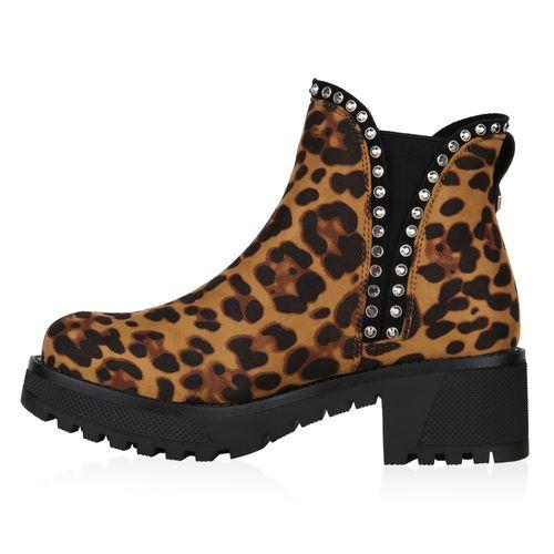 Damen Stiefeletten Chelsea Boots - Hellbraun Leo