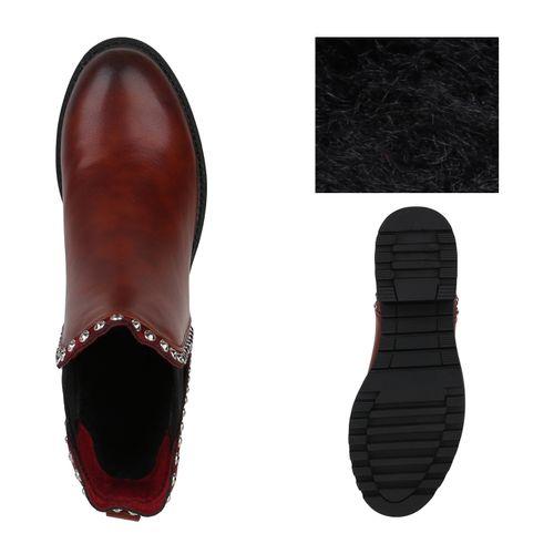 Damen Stiefeletten Chelsea Boots - Dunkelrot Pu