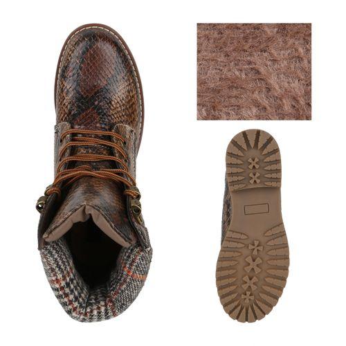 Damen Stiefeletten Worker Boots - Braun Snake