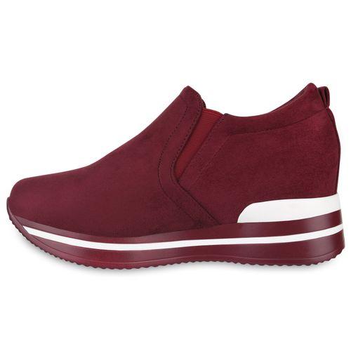 Damen Sneaker Wedges - Burgund