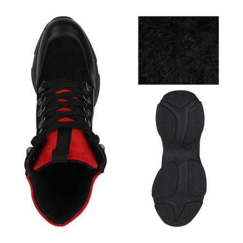 Damen Plateau Sneaker - Schwarz Rot