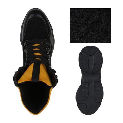 Damen Plateau Sneaker - Schwarz Hellorange