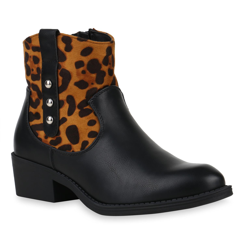 Damen Stiefeletten Cowboy Boots - Schwarz Hellbraun Leo
