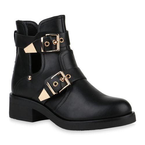 reputable site 4a416 e303c Damen Stiefeletten Ankle Boots - Schwarz Gold