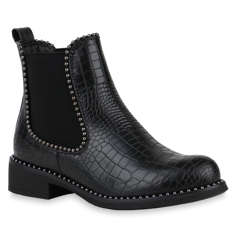 Stiefel für Frauen - Damen Stiefeletten Chelsea Boots Schwarz Kroko › stiefelpardies.de  - Onlineshop Stiefelparadies