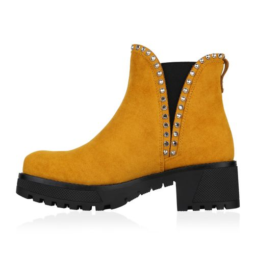Damen Stiefeletten Chelsea Boots - Gelb