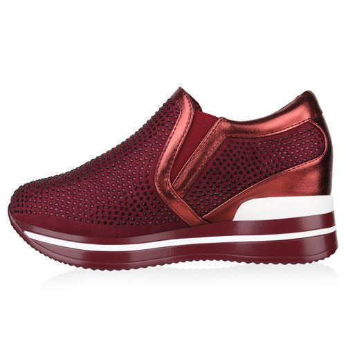 Damen Sneaker Wedges - Burgund Metallic