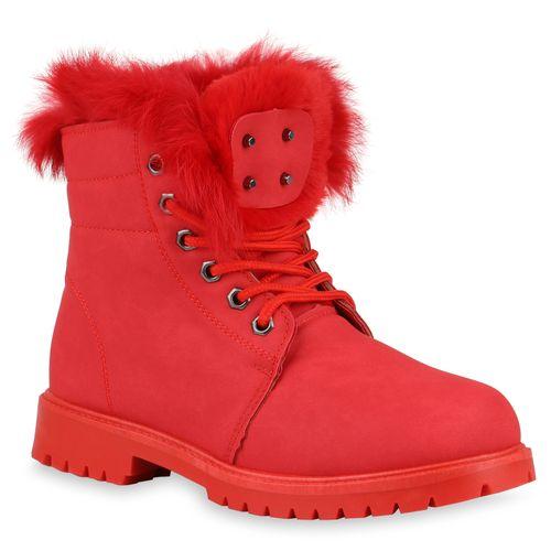 Damen Stiefeletten Worker Boots - Rot