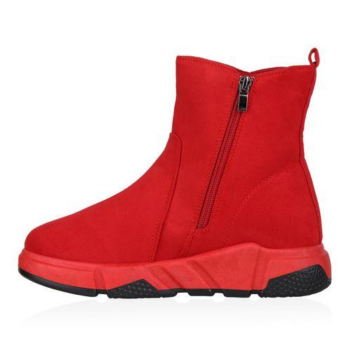 Damen Sneakerstiefel - Rot