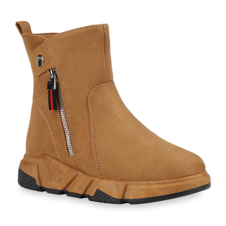 Damen Sneakerstiefel - Hellbraun