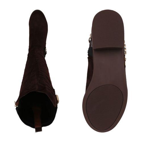 Damen Klassische Stiefel - Dunkelbraun Kroko