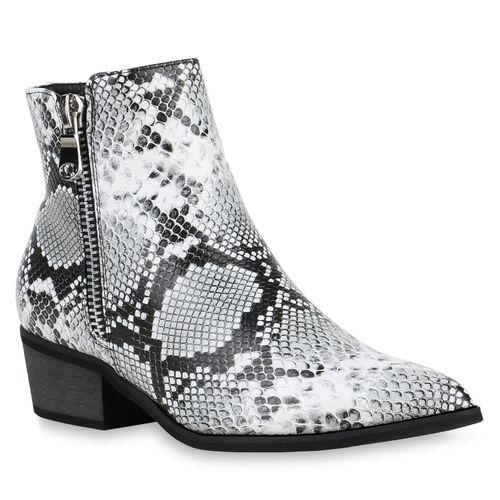 Damen Klassische Stiefeletten - Schwarz Weiß Grau Snake