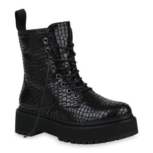 Damen Stiefeletten Plateau Boots - Schwarz Kroko
